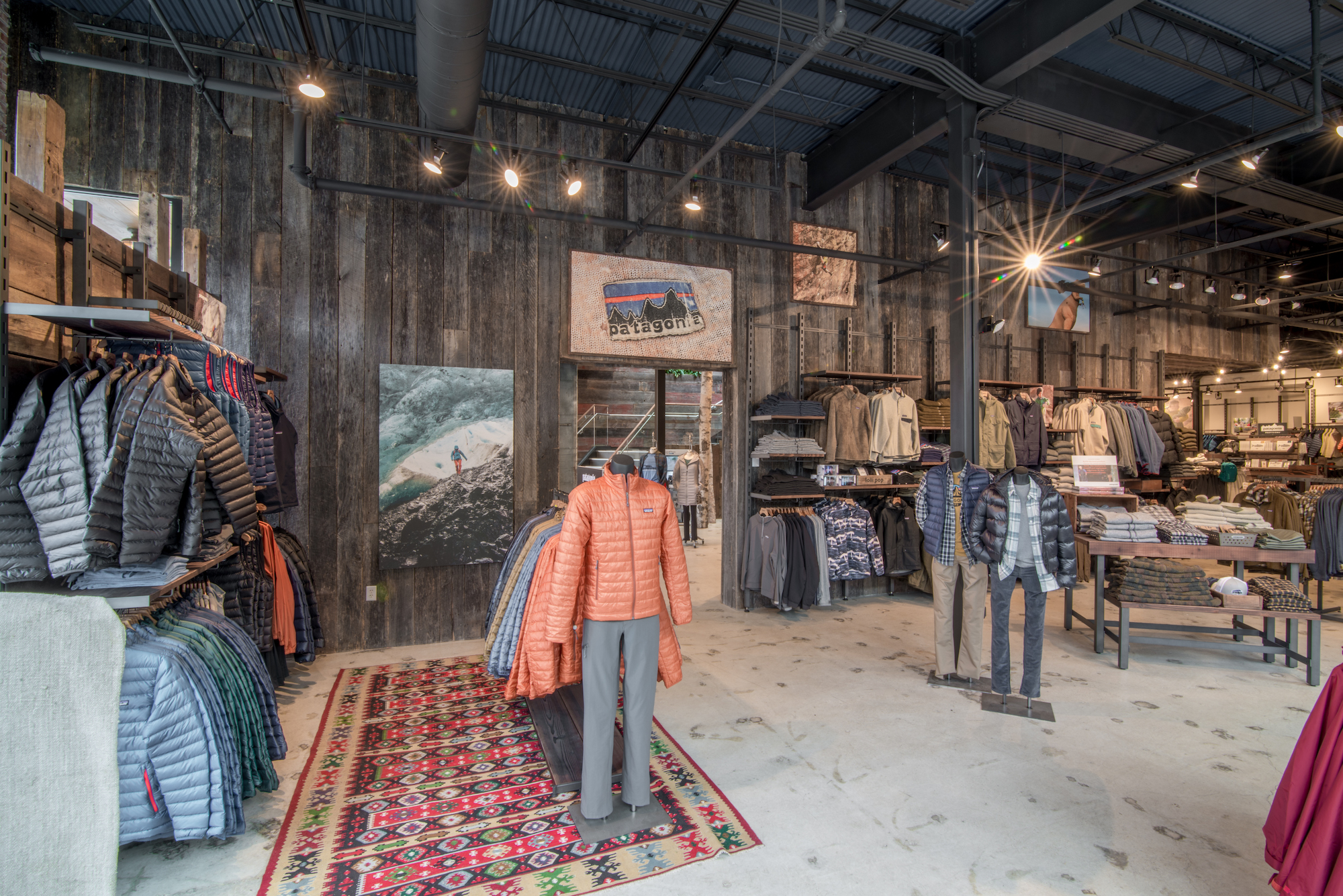 Outerwear retail store Denali in Providence, Rhode Island, featuring vintage barn board sourced by Rousseau Reclaimed Lumber & Flooring