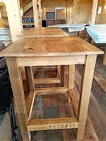Table made from antique mixed softwoods at Beech Hill Barn, Pittston, Maine, sourced by Rousseau Reclaimed Lumber & Flooring