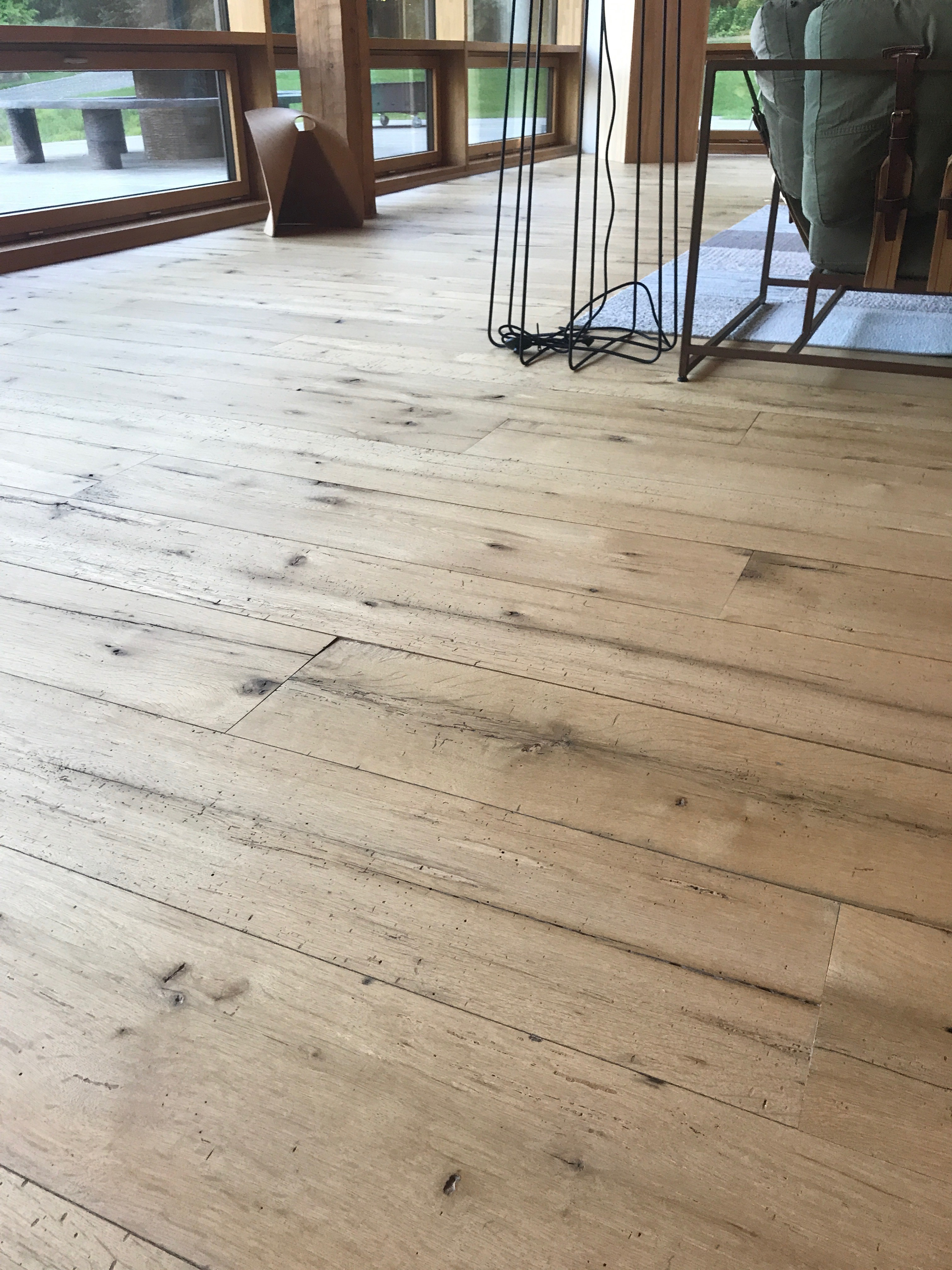 Antique white oak flooring at the Alnoba Retreat conference center in Kensington, New Hampshire