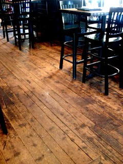 Restaurant with reclaimed original surface flooring in Maine