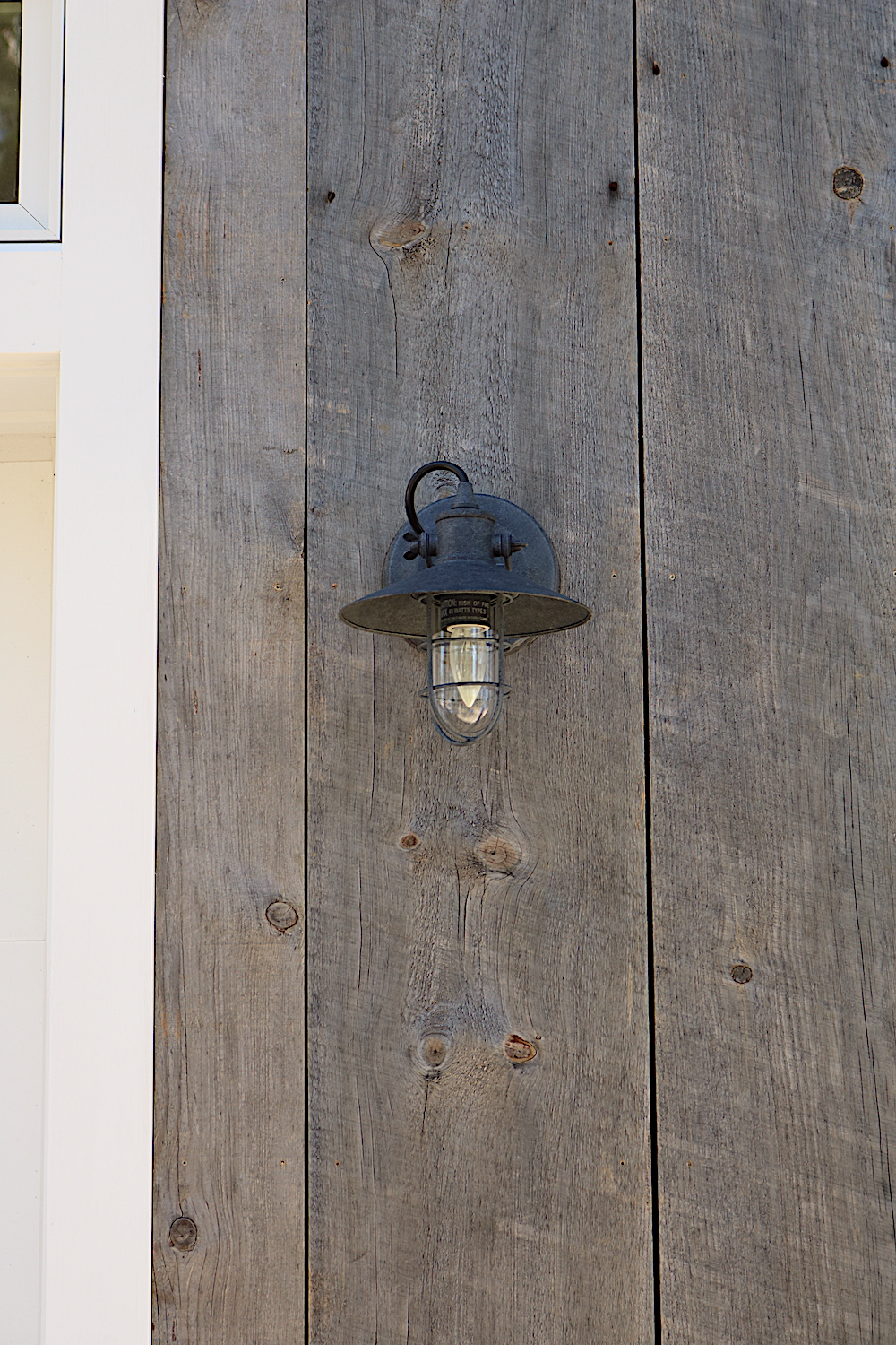 Detail of exterior gray board in a residence in Yarmouth, Maine, sourced by Rousseau Reclaimed Lumber & Flooring